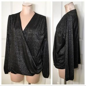 A New Day Gunmetal Surplice Sparkle Blouse Sz XL